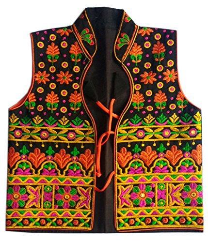 Black Gujarati embroidered koti - cotton readymade jacket - sleeveless koti - vest - waistcoat