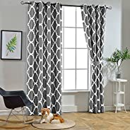 Melodieux Moroccan Blackout Curtains for Living Room Bedroom, Geometric Lattice Print Room Darkening Grommet D
