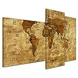 Kunstdruck - Weltkarte Retro II farbig - Bild auf Leinwand - 130x80 cm 3 teilig - Leinwandbilder - Urban & Graphic - Erde - grafische Darstellung - detailliert - einmalig