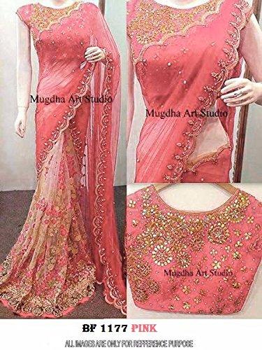 4f03f282e26029 Mahadev Enterprises Pink Georgette   Soft Net With Blouse BVM56 ...