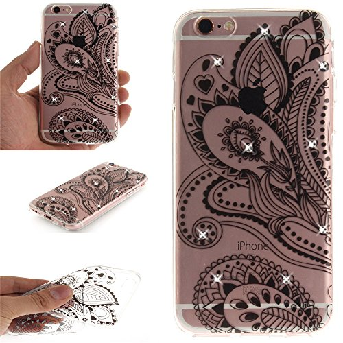 Nutbro iPhone 5 Case, iPhone 5S Case, iPhone SE Case Fashion Super Flexible Clear TPU Phone case Luxury Flower Diamond Lace Pattern Soft Silicon Cases Cover TPU-TX-iPhone-5S-64