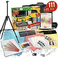 Artina 122 Pcs XXL Art Set - All Media Art Studio incl. Full Acrylic Painting Set - Artist Easel Pencils Brushes Paints & Accessories