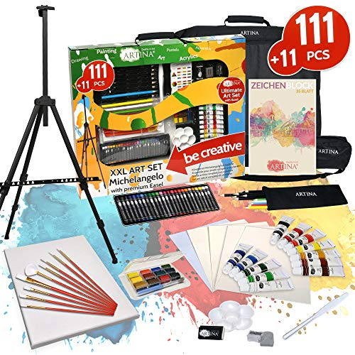Artina 122 Teile XXL Mega Malset Staffelei Set - Komplett Malset Acryl, Zeichenset, Buntstifte, Farbset, Leinwand, Pinselset für Erwachsene & Kinder
