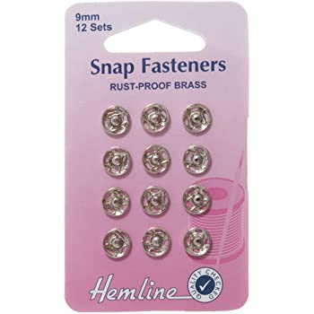 Hemline Sew On Gold 9mm Snap Fasteners Poppers Press Studs Rust Proof Brass