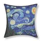 Elviros Pintura al óleo Lino y Algodón Blend Decorativo Funda de Cojínes 45x45 cm [18x18'' pulgadas] Noche Estrellada de Van Gogh
