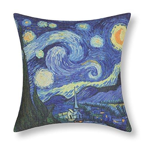 Elviros Pittura ad olio Cotone Misto Lino Decorativo Fodera per Cuscino 45x45cm [18x18'' pollici] - Van Gogh Notte stellata