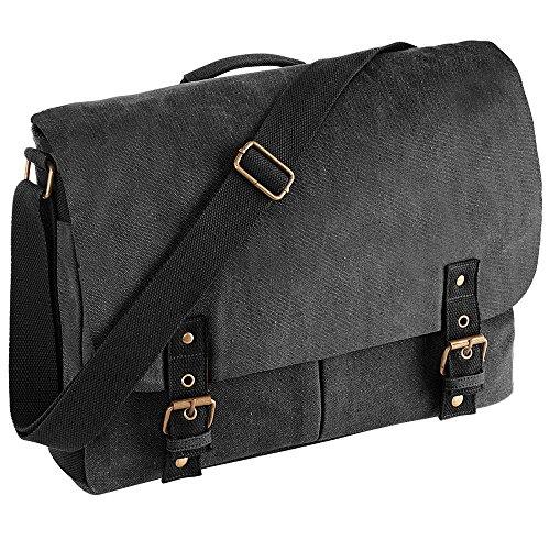 Quadra Vintage canvas satchel messenger Vintage Black
