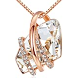 "Leafael Wish Stone 18K Rose Gold Plated/Silvertone Pendant Necklace Birthstone Crystal Jewelry, 18"" + 2"""