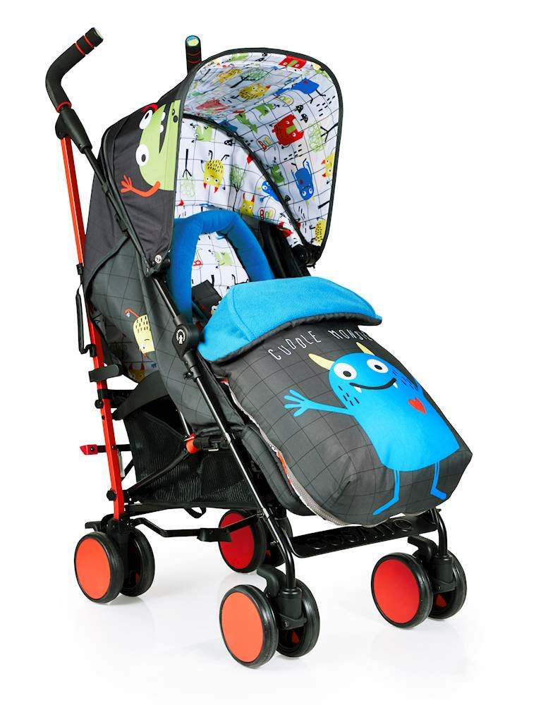 Cosatto Supa 2018 Baby Stroller, Suitable from Birth to 25 kg, Monster Mob Cosatto Suitable from birth up to 25 kg stroller; umbrella fold lightweight aluminium chassis with carry handle and folded free-standing feature For added comfort Supa 2018 has an integral upf100+ extended hood; one handed four position seat recline and adjustable calf support Supa 2018 has everything you need: Spacious storage basket, co-ordinating fleece lined footmuff, reversible washable liner, chest pads and recent born head hugger, rain cover and handy cup holder 1