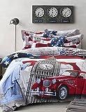 ZQ BETTERHOME 4Stück einheitliche Definition des Flussbett-Druck stereoskopische 3d-Spiele Bettbezüge reiner Baumwolle Queen