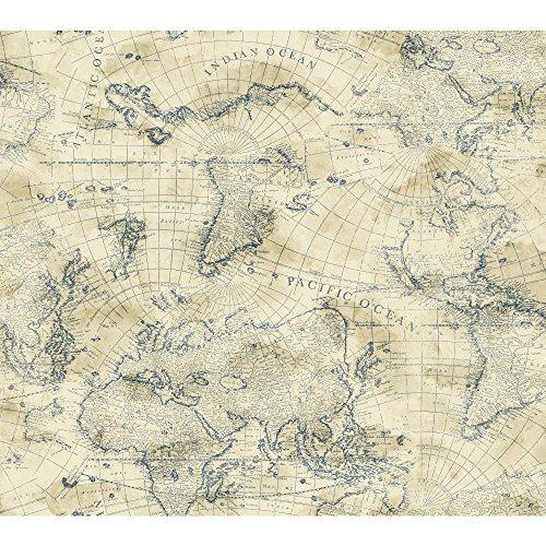 Coastal Marine (York Wallcoverings NY4837 Nautical Living Coastal Map Wallpaper, Cream/Ecru/Marine Blue by York Wallcoverings)
