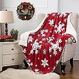 BEDSURE Weihnachten Kuscheldecke 150x200cm Flauschige Decke mit Rot/Weiß Schneeflocke Muster - Hochwertige Weiche Warme Fleecedecke aus Microfaser für Winter Dekoration