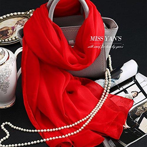 YRXDD Large Red Solid Color Silk Le Président Dos Santos Foulards en Soie châle Long Warm-ups.
