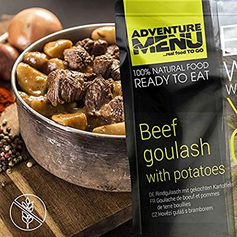 Adventure Menu Beef goulash with boiled potatoes