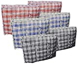 Pack of 6 Large STRONG Storage Laundry Shopping Bags – XL Moving Bags with Zipper & Handles Checkered - Reusable Store Zip Bag - Black Red Blue (Large)