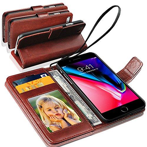 GBOS® Braun Rich-Leder-Standplatz Mappen-Schlag-Fall-Abdeckung For APPLE IPHONE 8 PLUS (speziell angefertigten - Premium-Qualität) Antique Leather Case Braun
