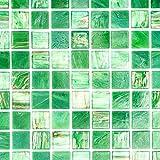 Mosaik Fliese Glas Goldensilk grün für BODEN WAND BAD WC DUSCHE KÜCHE FLIESENSPIEGEL THEKENVERKLEIDUNG BADEWANNENVERKLEIDUNG Mosaikmatte Mosaikplatte