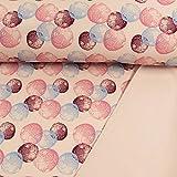 Softshell Stoff große Tupfen rosa Modestoffe - Preis Gilt für 0,5 Meter -