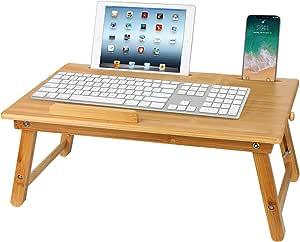 Laptoptisch Betttisch Aus Bambus Mit Schublade Faltbares Frühstück Serving Bett Tablett Notebookständer Sofa Höhenverstellbar Faltbar Lepdesks Laptopständer 55x35x 22 33 Cm Küche Haushalt
