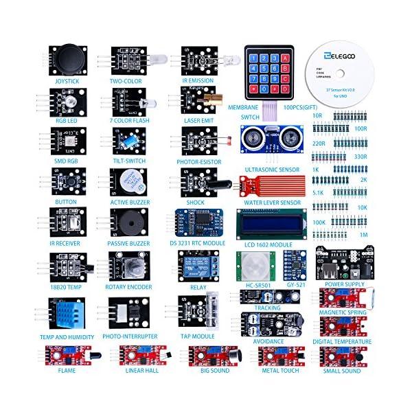 61y%2BI7tQbyL. SS600  - ELEGOO Actualizado 37-en-1 Kit de Módulos de Sensores con Tutorial para Arduino UNO R3 Mega 2560 Nano Arduino Sensores Kit Raspberry Sensores