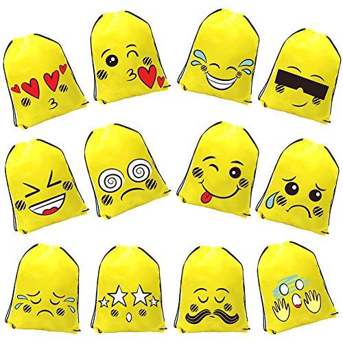 DrCosy Emoji Kordelzug Rucksack Tasche Party Favor Taschen Birthday Party Supplies Party Taschen Geschenk für Kinder Mädchen Teens(12 Pack)