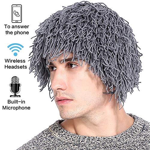Kostüm Einfach Bärtigen - Jaku Bluetooth Headset hat Männer Frauen Bluetooth Strick bärtige Hüte HandGemachte Wig Winter warme Ski-Maske Beanie,Gray