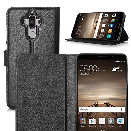 IVSO Huawei Mate 9 Case - Slim Flip Shell Case for Huawei Mate 9 Smartphone (Slim PU Series - Black)