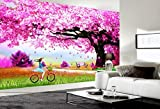 Yosot Romantische Ehe Zimmer Non Woven Tapeten Schöner Kirschbaum Foto Tapete 3D Wandbild Hintergrund Wand-350Cmx245Cm