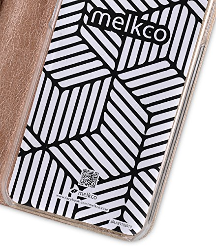 Melkco Heritage Serie (Prestige Collection) Buch Stil Premium Kuhleder Abdeckung mit 4 Kartenschlitz für Apple iPhone 6s Plus / 6 Plus 5.5 inch (Braun/Gelb Chrysanthemum) Oliver Khaki/Grau Chrysanthemum