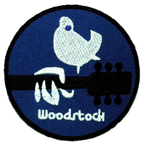 WST-01 Woodstock Music Festival Peace Guitar Hippie Boho DIY Embroidered Sew Iron on Patch