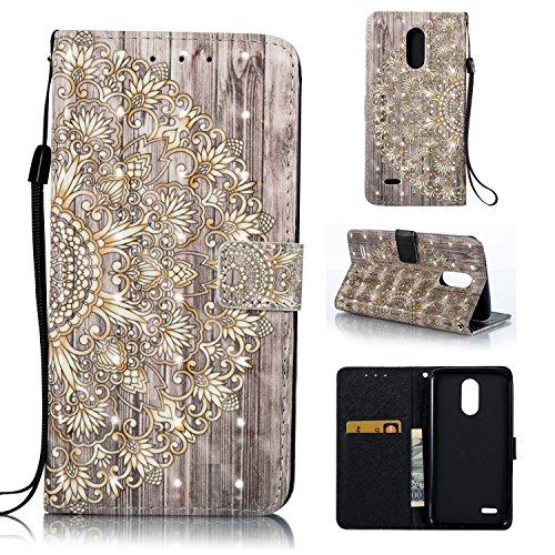 Cozy Hut LG Stylus 3 Hülle, PU Leder Flip Wallet Case mit Magnetverschluss Anti-Scratch Shell Cash Pouch ID Card Slot Standfunktion Etui für LG Stylus 3 - golden Flower