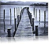 Langer Holzsteg ins Meer Schwarz/Weiß, Format: 120x80 auf Leinwand, XXL riesige Bilder fertig gerahmt mit Keilrahmen, Kunstdruck auf Wandbild mit Rahmen, günstiger als Gemälde oder Ölbild, kein Poster oder Plakat