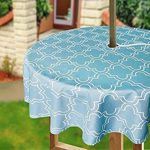 Eforcurtain 152,4cm Round Parapluie Housse de table avec fermeture à glissière Floral géométrique Nappe tissu résistant à l'eau pour terrasse, Polyester, Turquoise and White, 60Inch