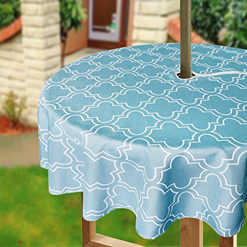 Funda para mesa redonda de paraguas Eforcortain, con cremallera, diseño geométrico floral, tela impermeable, para patio, poliéster, Turquoise and White, 60Inch Round