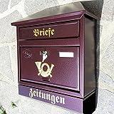 Naturholz-Schreinermeister Großer Briefkasten/Postkasten XXL Weinrot mit Zeitungsrolle Zeitungsfach Schrägdach Trapezdach