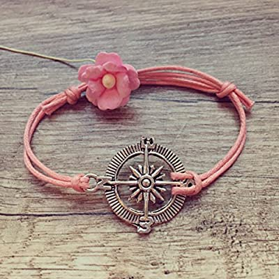 Bracelet Boussole en Rose Argent Ajustable, vintage / ethno / hippie / must-have / statement / bijoux florabella