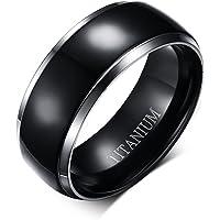 """Vnox, anello da uomo largo 8 mm, in puro titanio, con incisione interna """"Titanium"""", fascia centrale nera con 2 linee…"""