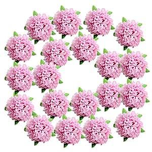 MagiDeal 20 Stück Blumen Köpfe Kunstblumen Blüten Gänseblümchen Künstliche Blumen Hausdeko Hochzeit Deko - Rosa, wie beschrieben