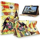 """art&cherry 10"""" Tablet / Tablet-PC 10Zoll Hülle Case - Fintie Ultradünne Smart Shell Cover Lightweight Schutzhülle Tasche Etui Bunter Papagei"""