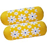 HSR Collection 100% Cotton 2 Piece Printed Bolster Cover - 16 X 32 inches, Yellow