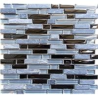 10cm x 10cm Muster Glas Mosaik Fliesen Muster Ziegelstein Format in Schwarz mit Glitzer MT0010 Muster