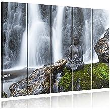 Feeby Frames, Cuadro en lienzo - 5 partes - Cuadro impresión, Cuadro decoración, Canvas Tipo C, 100x200 cm, ZEN, BUDA, ESTATUA, CASCADA, PIEDRAS, BROWN, VERDE