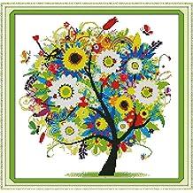 Kit de punto de cruz (14 puntos, 38 x 38 cm), diseño de árbol de la suerte
