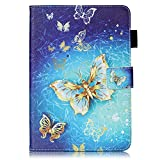 Apple iPad Mini 1 / iPad Mini 2 / iPad Mini 3 / iPad Mini 4 Case [with Free Earphone], Billionn 3D glitter PU Leather Flip Cover Shell Wallet Slim Stand Protective Cover for Apple iPad Mini 1 / iPad Mini 2 / iPad Mini 3 / iPad Mini 4 (Gold butterfly)