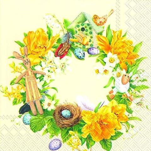 Daffodil ghirlanda carta panna a 3strati Tovaglioli 33cm pranzo quadrato 20in una confezione