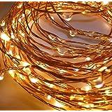 LED-Lichtshop® Cadena de luz cálida de color blanco, 30 unidades, interior o exterior, micro cables, batería de alambre, funciona con interruptor
