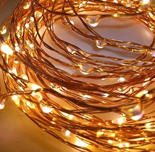 Guirnalda de luces LED de LED-Lichtstop®, 30 luces LED, alambre plateado, para interiores o exteriores, luz blanca cálida, con pilas e interruptor, temporizador de 4 horas