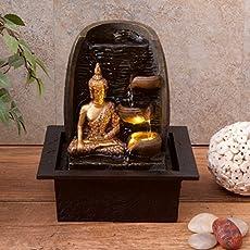 Fuente de agua con Buda dorado, tazas de agua y luz LED, ideal para interiores, 21 x 18 x 25 cm