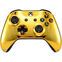 eXtremeRate Chrome Gold Front Housing Shell Faceplate for Microsoft Xbox One S & Xbox One X Controller(Model 1708)
