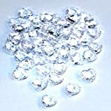 SiDeSo® Dekosteine Herzdiamanten Herzen klar 100 Stück Acryl Tischdeko Streudeko Hochzeit Diamantherzen